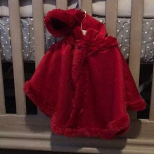 NWOT RED first impressions baby girl cape